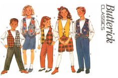 Butterick 6926 Unisex Childrens' by patternscentral on Etsy Historical Costume, Short Skirts, Casual Wear, Sewing Patterns, Vest, Unisex, Boys, Girls, Costumes