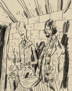 Lupin, Sirius and Pettigrew drawn by Warwick Johnson Cadwell during a Harry potter marathon.