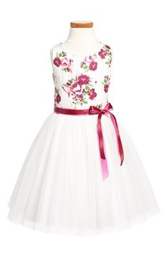 Zunie Floral Brocade & Tulle Dress (Toddler Girls, Little Girls & Big Girls) available at #Nordstrom