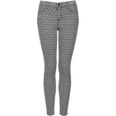 TOPSHOP MOTO Tile Print Leigh Jeans ($31) ❤ liked on Polyvore featuring jeans, pants, bottoms, pantalones, trousers, black, print jeans, patterned skinny jeans, patterned jeans and print skinny jeans