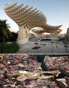 The world's largest wooden structure stands out as an amorphous shape among the urban clutter of Seville, Spain. Looking like a huge artificial canopy of trees, the Metropol Parasol functions as an archaeological site, farmer's market and multi-level plaza with bars and restaurants. It was completed in April 2011and consists of interweaving wooden panels with a waffle-like effect, rising from a concrete base reinforced with steel.