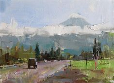 """Daily Paintworks - """"Mt Hood OR"""" - Original Fine Art for Sale - © Qiang Huang"""