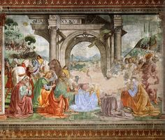 """""""The Adoration of the Magi by Domenico Ghirlandaio, part of a cycle in the Tornabuoni Chapel was painted just after the arrival of the Medici giraffe and shows the animal descending a hill on the right-hand side."""""""