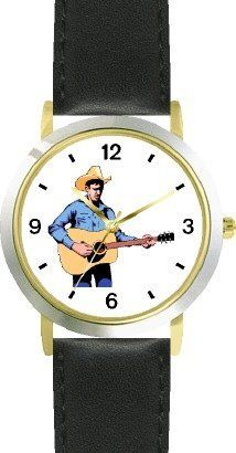 Country Western Singer Playing Guitar 2 Musician - WATCHBUDDY® DELUXE TWO-TONE THEME WATCH - Arabic Numbers - Black Leather Strap-Size-Children's Size-Small ( Boy's Size & Girl's Size ) WatchBuddy. $49.95. Save 38% Off!