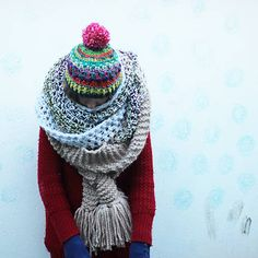 handmade crochet colorful hat with pompom, winter accessory