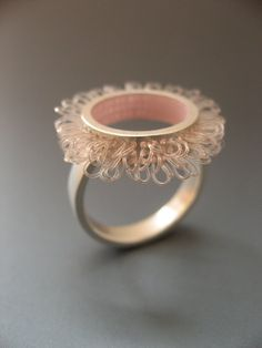 Silver Ring in rose color loops in circles by mabotte on Etsy, €145.00