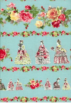 YUWA Victorian Roses Palace Blue background
