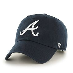 MLB Atlanta Braves '47 Clean Up Adjustable Hat, Navy, One Size  http://allstarsportsfan.com/product/mlb-47-clean-up-adjustable-hat-adult/?attribute_pa_teamname=atlanta-braves  Adjustable strap closure – one size fits all Made from 100% Cotton Twill; Relaxed Fit Garment washed for softer look & feel