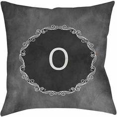 Thumbprintz Chalkboard Scroll Monogram Grey Decorative Pillows