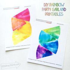 Rainbow garland printables by Jen Goode