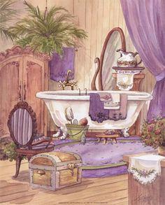 Victorian Prints | Jerianne Van Dijk - Victorian Bathroom I - art prints and posters