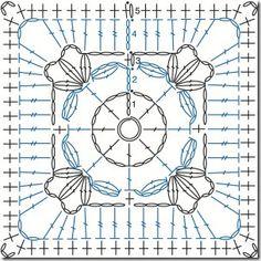 Granny Square häkeln -  crochet square - chart