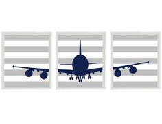 Airplane Nursery Art -  Navy Blue Gray Stripes -  Boy Room Aviation Flying - Baby Boy Nursery Toddler Big Boy Room Wall Art Home Decor on Etsy, $42.00
