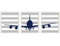 Airplane Nursery Art - Navy Blue Gray Stripes - Boy Room Aviation Flying - Baby Boy Nursery Toddler Big Boy Room Wall Art Home Decor on Etsy, $42.00
