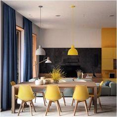 """Decoramundo (@decoramundo) no Instagram: """"Que tal ousar e usar cadeiras amarelas no jantar. Tudo a ver com esse ambiente lindo e leve. ME…"""""""