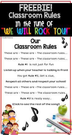 "FREEBIE - Classroom Rules to the tune of ""We Will Rock You!"" Click to find the full song to sing with your students!!!"