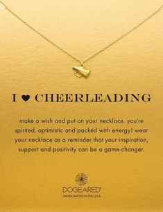 I Heart Cheerleading Necklace. Cheer with the megaphone! Cheerleading girlfriends gonna love. Gifts for cheerleaders. Necklace with message. Senior Cheerleader, School Cheerleading, Cheerleading Gifts, Cheer Bows, Cheerleader Gift, Gifts For Cheerleaders, Cheerleading Accessories, Cheerleading Quotes, Cheer Camp