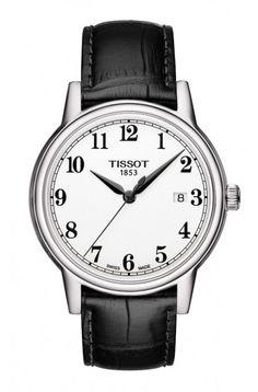 Tissot Carson Men's Quartz White Arabic Dial Watch with Black Leather Strap