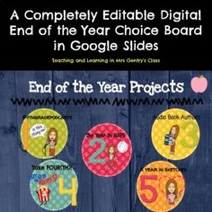 This End of the Year Digital Choice Board in Google Slides gives students five different engaging choices to document their memories, grade level tips, or to summarize their learning (assessment or test prep) at the end of the year. The Project options include writing a song, creating a series of p... Apple Images, Choice Boards, 21st Century Skills, Test Prep, Writing Activities, Book Authors, Teaching Tools, Critical Thinking, Assessment