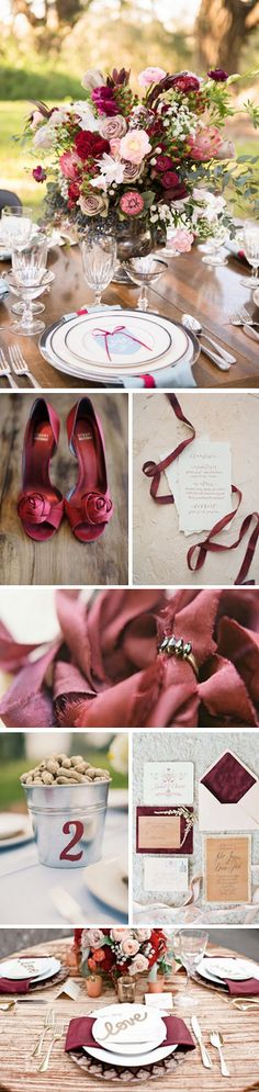 Marsala Inspiration. This is really close to where I want to be. It has pink, ruby, and a nice soft blush. I also want the blue/purple acent to bring out the bridesmaids dresses