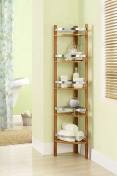 Altra Furniture Cherry Bamboo Bathroom Tall Corner Tower By D On Hautelook