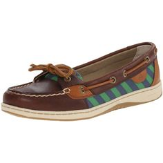 Sperry Top-Sider Women's Angel Fish Tie Stripe Boat Shoe ($56) ❤ liked on Polyvore featuring shoes, loafers, sperry top-sider shoes, traction shoes, tie shoes, top sider shoes and deck shoes
