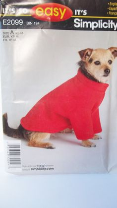 Easy Dog Shirt Simplicity E2099 Sewing Pattern by WitsEndDesign