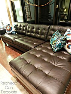 ideas for living room decor brown couch cream leather sectionals Brown Leather Sofa Living Room, Brown And Cream Living Room, Living Room Decor Brown Couch, Leather Living Room Furniture, Brown Furniture, Couch Furniture, Coaster Furniture, Furniture Stores, Furniture Ideas