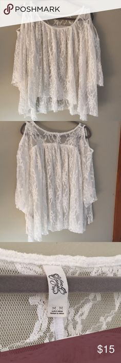 NWOT Free People Lace Blouse Worn Once Lace Blouse Size M. Great for spring! Free People Tops Blouses