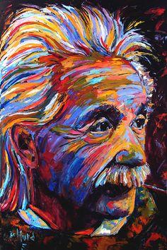 "Where ART Lives Gallery Artists Group Blog: Abstract Portrait Painting ""Albert Einstein-The Rock Star"" by Texas Artist Debra Hurd"