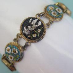 Antique Victorian MicroMosaic Micro Mosaic Bird Flower Bracelet