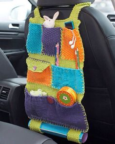 But I will crochet mine! Lily Sugar 'n Cream - Road Trip Car Caddy (free knitting pattern) Crochet Car, Crochet Gratis, Crochet Home, Crochet For Kids, Free Crochet, Crochet Organizer, Crochet Storage, Knitting Patterns Free, Free Knitting