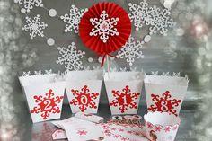 """Купить """"Новый год 2018"""" Набор для декора нового года - белый, снежинка, ярко-красный"""