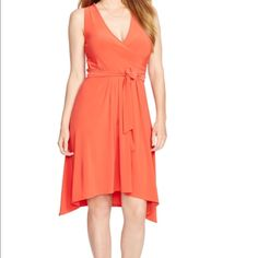 ❌sold❌Lauren Ralph Lauren Dress An alluring surplice neckline and a flattering full skirt make this sleeveless jersey dress a stylish go-to. Wear it with sandals for day and heels for night.  Fit-and-flare silhouette. Sleeveless silhouette. Ruching gathers at the left bodice. Removable self-belt. 93% polyester, 7% elastane. Machine washable. ✅ Reasonable offers considered ✅ Please use offer button to make an offer Ralph Lauren Dresses High Low