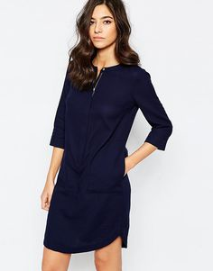 Warehouse+Concealed+Zip+Tunic+Dress