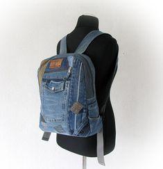 Recycled blue jeans unisex backpack, hipster denim backpack, wabi sabi style, upcycled jeans rucksack, vintage jeans, patchwork denim bag