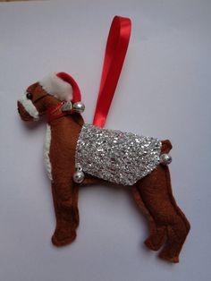 Handmade Brown felt Christmas Boxer dog hanging decoration by CraftyBunnyDog on Etsy