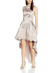 14, Opal Grey (Beige), Chi Chi London Women's Embroidered Dip Hem Dress Skirt NE