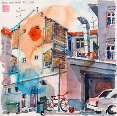 Back Alley of Teck Lim Road, Singapore, watercolor by Paul Wang, 2011
