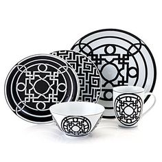Z Gallerie - Labyrinth Black & White Dinnerware - Set of 4