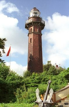 Lighthouse in Gdansk New Port (woj. Pomorski), Poland. One of the most beautiful lighthouses in the Baltic Sea.