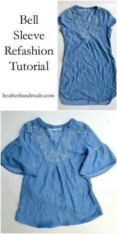 Bell sleeves are cute & easy to add! You use a tunic or a dress to make this top ~ It's simple and easy! Bell Sleeve Refashion Tutorial - by Heather Handmade Sewing Clothes Women, Clothing Items, Fashion Fabric, Diy Fashion, Dress Tutorials, Sewing Tutorials, Sewing Projects, Sewing Hacks, Sewing Tips
