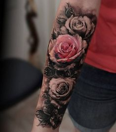 Rose sleeve tattoo - 50  Meaningful Rose Tattoo Designs  <3 <3