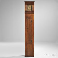 Shaker Pine Tall Case Timepiece, Isaac Newton Youngs, New York, 1834. | Auction 2898M | Lot 211 | Sold for $24,600