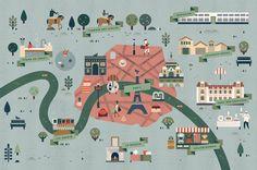 Lotta Nieminen, Paris + surroundings map for Le Monde