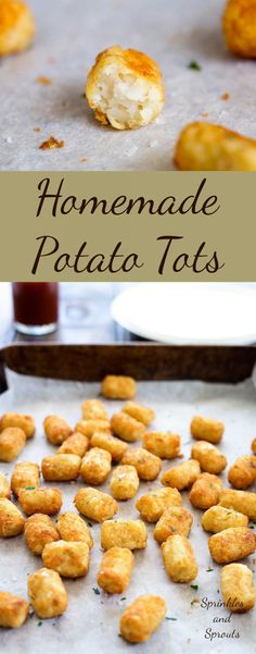 Homemade potato tots, shredded potato, cooked until crisp on the outside and fluffy inside. These homemade potato tots have just 4 ingredients (well Whole Food Recipes, Snack Recipes, Cooking Recipes, Snacks, Simple Recipes, Pasta Recipes, Breakfast Recipes, Potato Tots, Sweet Potato Skins