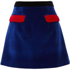 Christopher Kane Velvet Contrast Pocket Skirt (1.980 RON) ❤ liked on Polyvore featuring skirts, mini skirts, saia, royal blue skirt, pocket skirt, blue skirt, sexy skirt and christopher kane