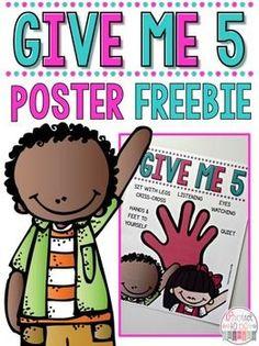 Give me 5 classroom poster - freebie
