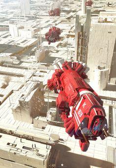 White City by Col Price Spaceship Art, Spaceship Design, Spaceship Concept, Concept Ships, Arte Sci Fi, Sci Fi Art, Sci Fi Kunst, Science Fiction Kunst, Sci Fi Ships