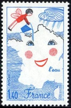 French stamp: where the fairy drops the rain, we always spend our holidays